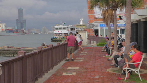 view of Kaohsiung from Cijin Island Footage