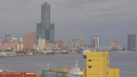building 85 and Kaohsiung harbor aerial Stock Video Footage