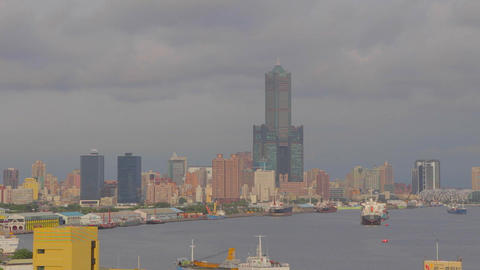 Close Shot Kaohsiung Harbor Aerial stock footage