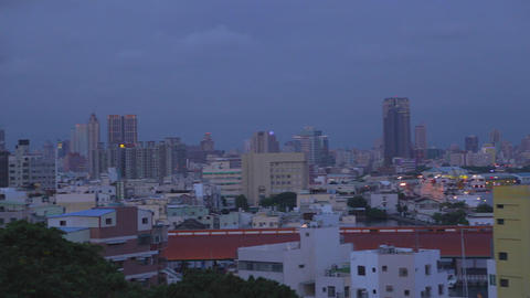 evening Kaohsiung harbor aerial pan Footage