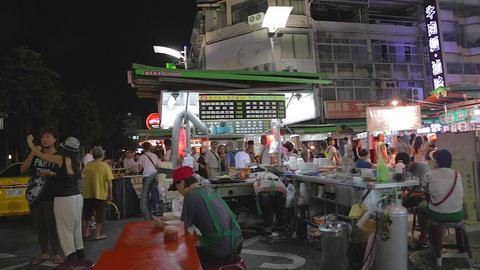 Liuhe Night Market pan - people at night market Live Action