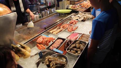 Liuhe Night Market - seafood display Footage
