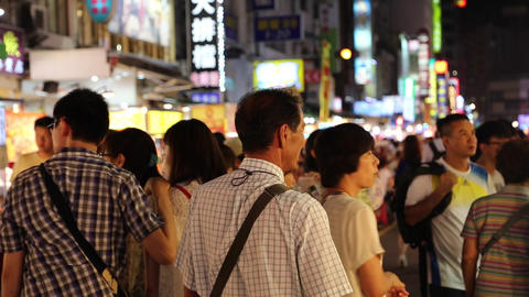 Liuhe Night Market - cinematic shot of people Stock Video Footage