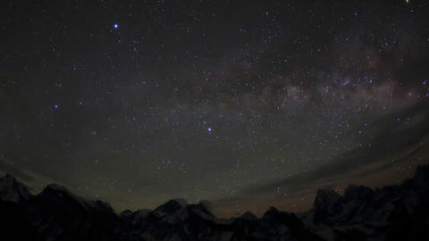 Time lapse of stars behind mountains Everest, Lhot Stock Video Footage