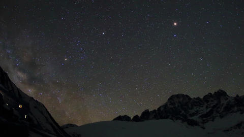 Time lapse of stars behind mountains Pharilapche p Footage