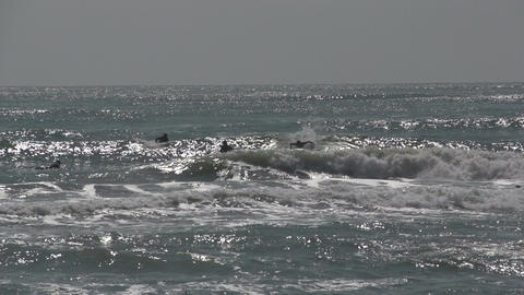 044 Laguna , Beach , surfers in water , slowmotion Stock Video Footage