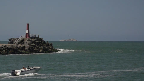 071 Laguna , lighthouse , speedboat passing by ,sl Footage