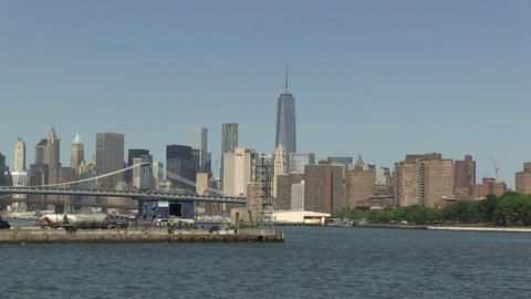 Downtown Manhattan from Brooklyn Stock Video Footage