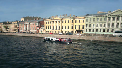 travel of the Moika river in St. Petersburg Footage