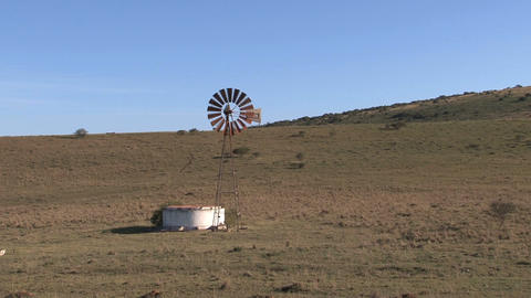 Old windmills in countryside Footage
