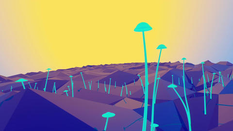 Growing mushrooms on geometric landscape Stock Video Footage