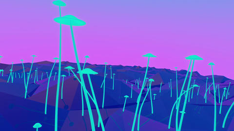 Growing mushrooms on geometric landscape Animation