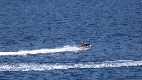 a man rides a jet ski Footage