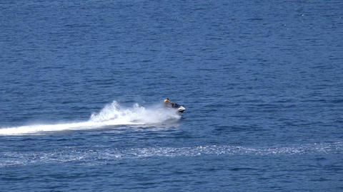 a man rides a jet ski Stock Video Footage