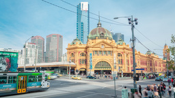 4k Timelapse Video Of Flinders Street Station In M stock footage
