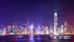 4k timelapse video of Symphony of Light in Hong Ko Stock Video Footage