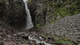Tourists At Njupeskar Waterfall 25fps stock footage