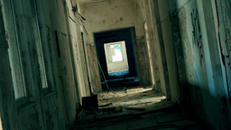 Abandoned Post Apocalyptic Horror Corridor Zoom In stock footage