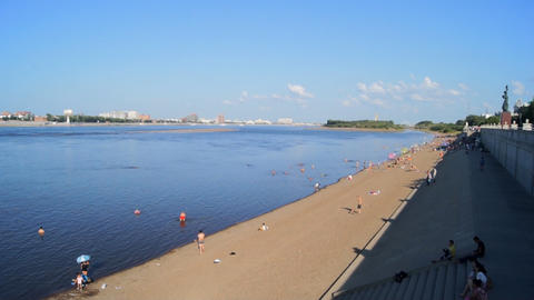 Heihe Heilongjiang River Beach 01 stock footage