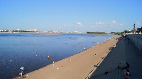 Heihe Heilongjiang River Beach 01 Footage