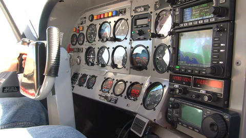 Inside A Small Aeroplane, Instrument Panel Footage