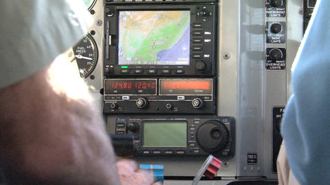 Inside A Small Aeroplane, Instrument Panel Stock Video Footage