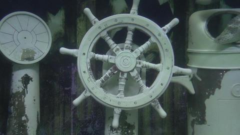 ships helm underwater Stock Video Footage
