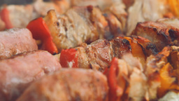 Fire Barbecue Cooking Food Meat And Vegetables stock footage