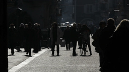 City Life Milan Silhouette People Stock Video Footage