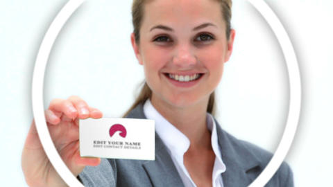 Company Card Presentation Girl After Effects Template