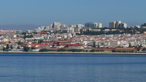Panoramic View on the Lisbon and River Footage