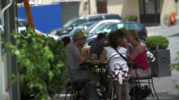 Editorial Tourists Having Lunch In Rome Italy stock footage