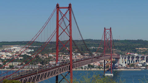 Top View on the 25 de Abril Bridge in Lisbon Footage