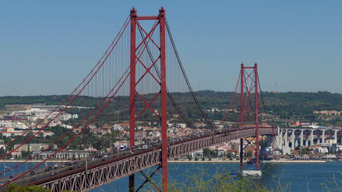 Top View on the 25 de Abril Bridge in Lisbon Stock Video Footage