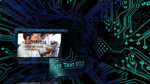 Circuit board tunnel with media After Effects Template