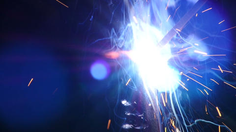 Stock Footage Welding Sparks Slow Motion Macro Footage