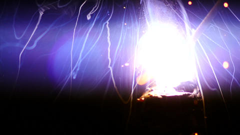 Stock Footage Welding Sparks Fireworks Closeup Slo Footage