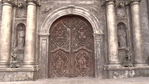 Vertical Pan Of San Agustin Church stock footage