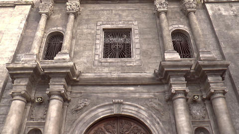 vertical pan of san agustin church Stock Video Footage
