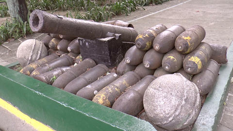 vintage bombs with cannon Stock Video Footage