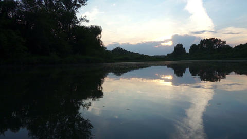 Evening on the River Stock Video Footage