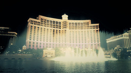 Bellagio Hotel Las Vegas Water Fountains Night Sho stock footage