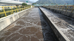 Aeration tank in a sewage treatment plant Stock Video Footage