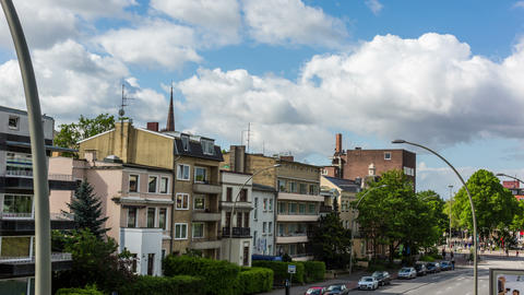Hamburg Mundsburg city skyline DSLR hyper lapse Stock Video Footage