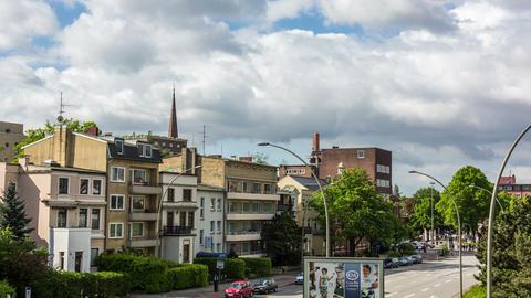 Hamburg Mundsburg city skyline DSLR hyper lapse Footage