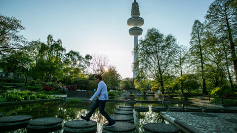 Hamburg Planten Un Bloom City Park With Tv Tower - stock footage