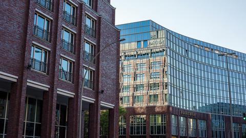 Modern office building in Hamburg city - DSLR hype Footage