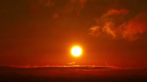 Beautiful Orange Sunrise with Clouds Stock Video Footage