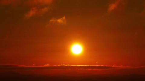 Beautiful Orange Sunrise with Clouds Footage