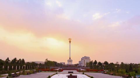 Stele with the emblem Tajikistan. Dushanbe. 1280x7 Stock Video Footage